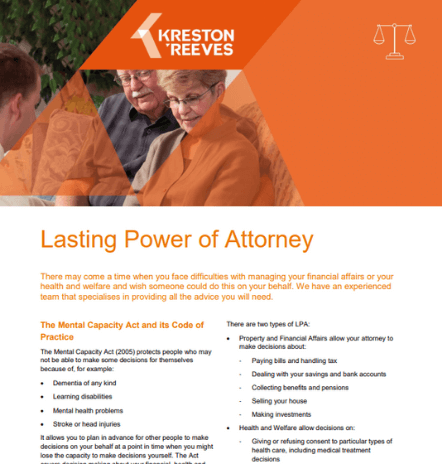 Lasting Power of Attorney leaflet