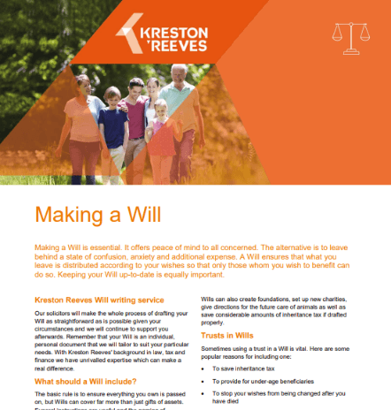 Making a Will leaflet