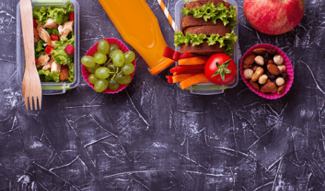 Healthy lunch for kids on chalk board style table