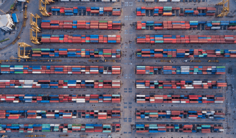 Container ship port top down view - importing exporting