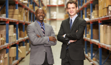 business partners in warehouse environment